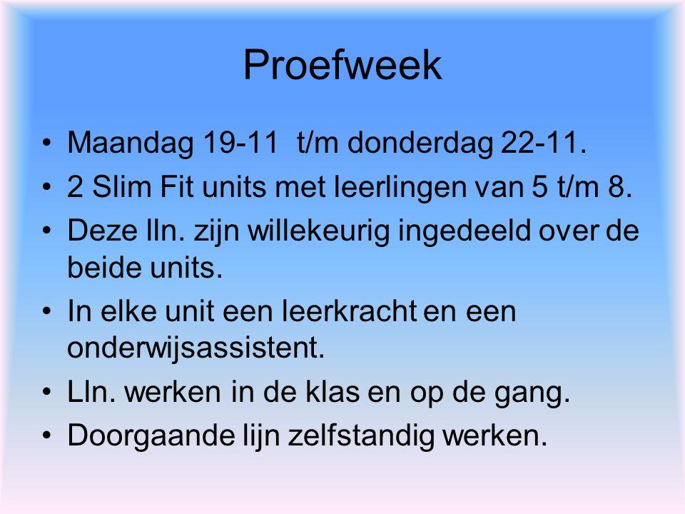 Proefweek Maandag 19-11 t/m donderdag 22-11. 2 Slim Fit units met leerlingen van 5 t/m 8. Deze lln. zijn willekeurig ingedeeld over de beide units. In