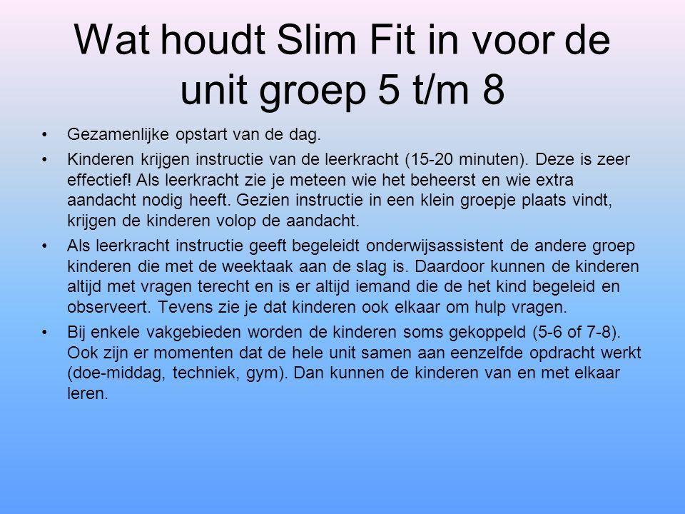 Wat houdt Slim Fit in voor de unit groep 5 t/m 8 Gezamenlijke opstart van de dag. Kinderen krijgen instructie van de leerkracht (15-20 minuten). Deze