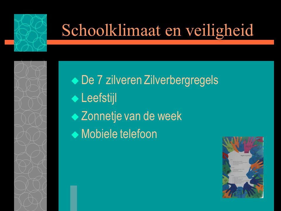 Schoolklimaat en veiligheid  De 7 zilveren Zilverbergregels  Leefstijl  Zonnetje van de week  Mobiele telefoon