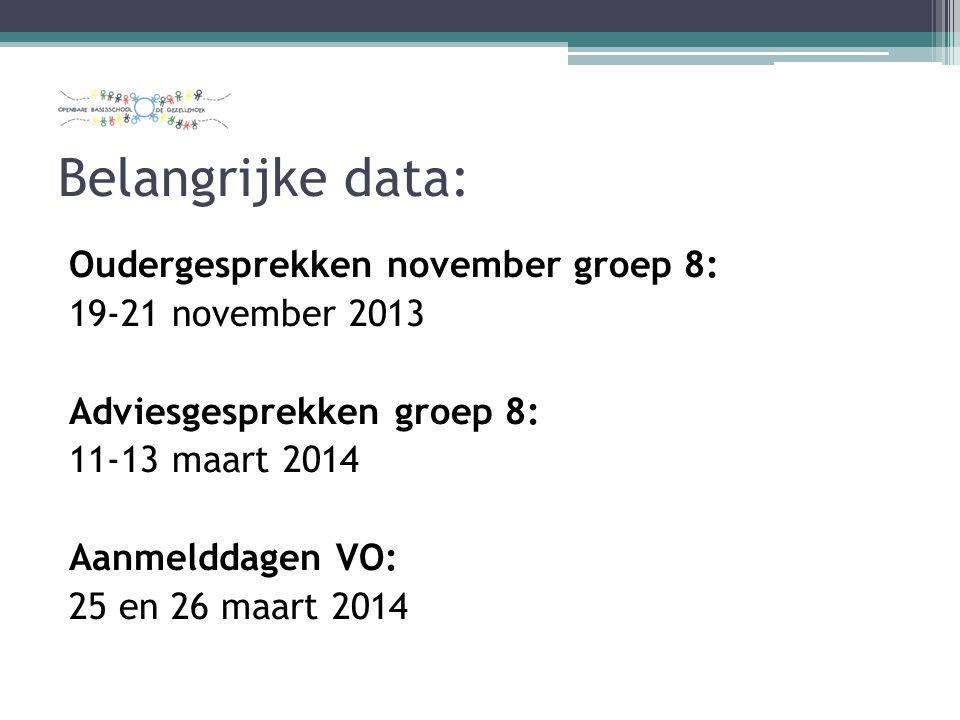 Belangrijke data: Oudergesprekken november groep 8: 19-21 november 2013 Adviesgesprekken groep 8: 11-13 maart 2014 Aanmelddagen VO: 25 en 26 maart 2014