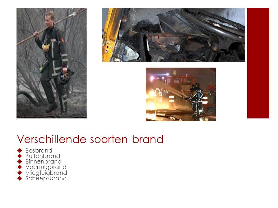 Verschillende soorten brand  Bosbrand  Buitenbrand  Binnenbrand  Voertuigbrand  Vliegtuigbrand  Scheepsbrand