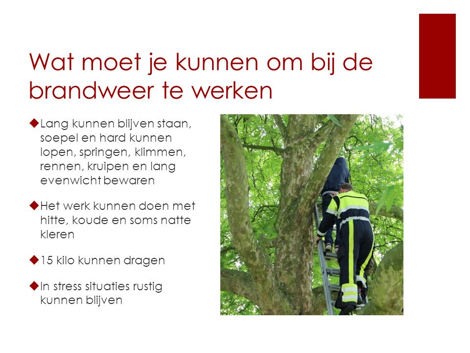 Wat moet je kunnen om bij de brandweer te werken  Lang kunnen blijven staan, soepel en hard kunnen lopen, springen, klimmen, rennen, kruipen en lang