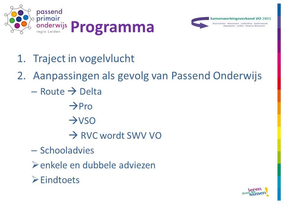 Programma 1.Traject in vogelvlucht 2.Aanpassingen als gevolg van Passend Onderwijs – Route  Delta  Pro  VSO  RVC wordt SWV VO – Schooladvies  enkele en dubbele adviezen  Eindtoets