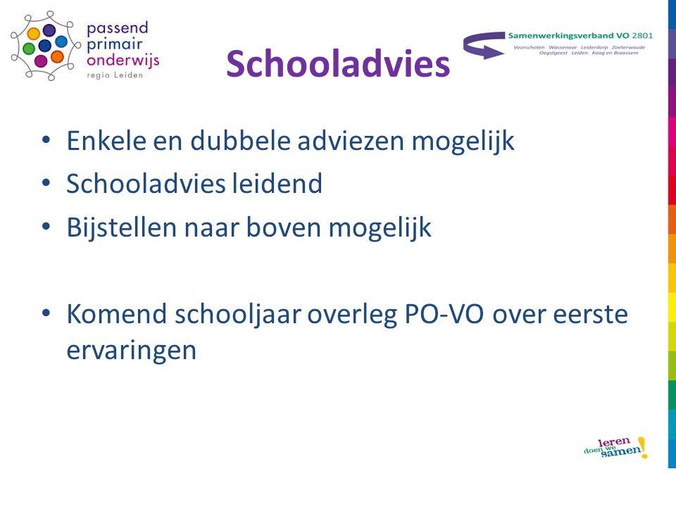 Schooladvies Enkele en dubbele adviezen mogelijk Schooladvies leidend Bijstellen naar boven mogelijk Komend schooljaar overleg PO-VO over eerste ervaringen