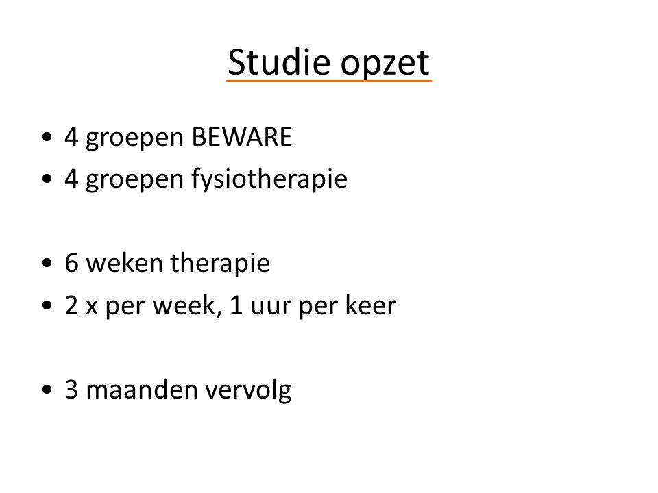 Studie opzet 4 groepen BEWARE 4 groepen fysiotherapie 6 weken therapie 2 x per week, 1 uur per keer 3 maanden vervolg