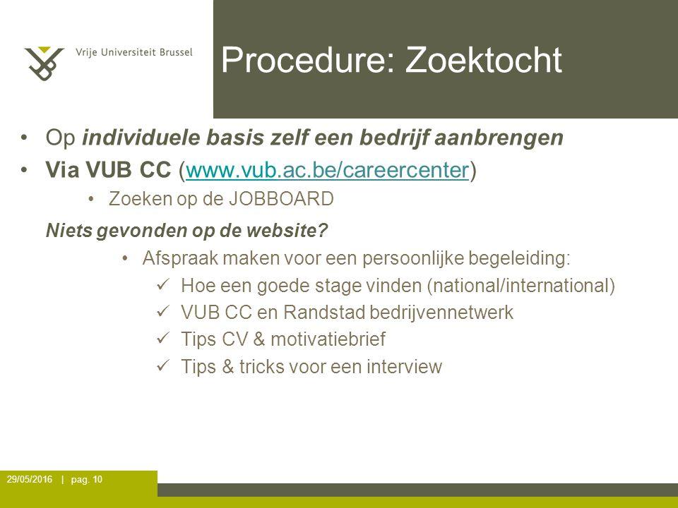 Procedure: Zoektocht Op individuele basis zelf een bedrijf aanbrengen Via VUB CC (www.vub.ac.be/careercenter)www.vub Zoeken op de JOBBOARD Niets gevonden op de website.