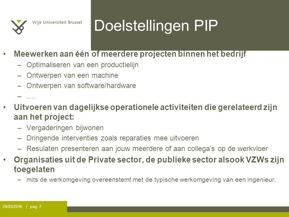Doelstellingen PIP Meewerken aan één of meerdere projecten binnen het bedrijf –Optimaliseren van een productielijn –Ontwerpen van een machine –Ontwerpen van software/hardware –….