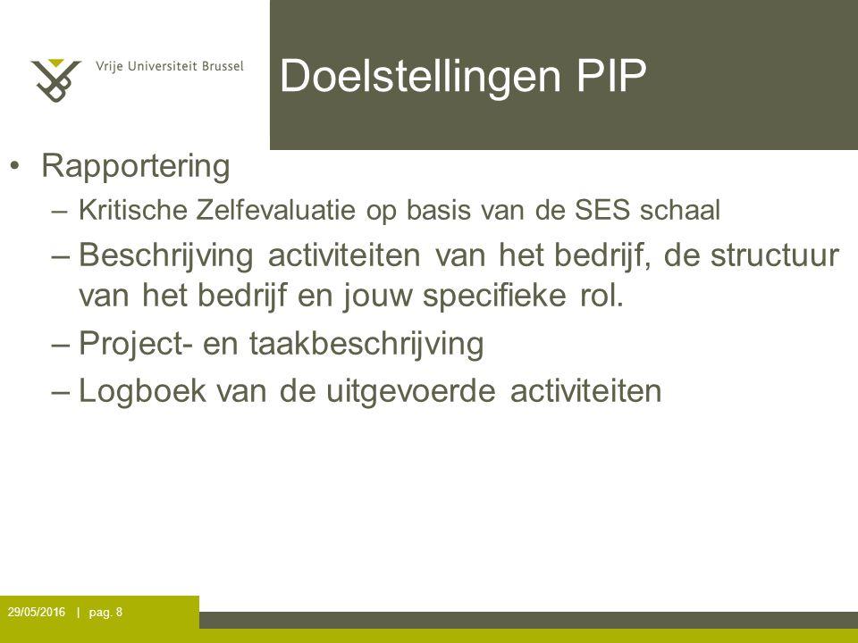 Doelstellingen PIP Rapportering –Kritische Zelfevaluatie op basis van de SES schaal –Beschrijving activiteiten van het bedrijf, de structuur van het bedrijf en jouw specifieke rol.