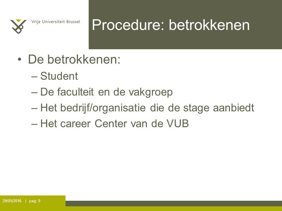 Procedure: betrokkenen De betrokkenen: –Student –De faculteit en de vakgroep –Het bedrijf/organisatie die de stage aanbiedt –Het career Center van de VUB 29/05/2016 | pag.