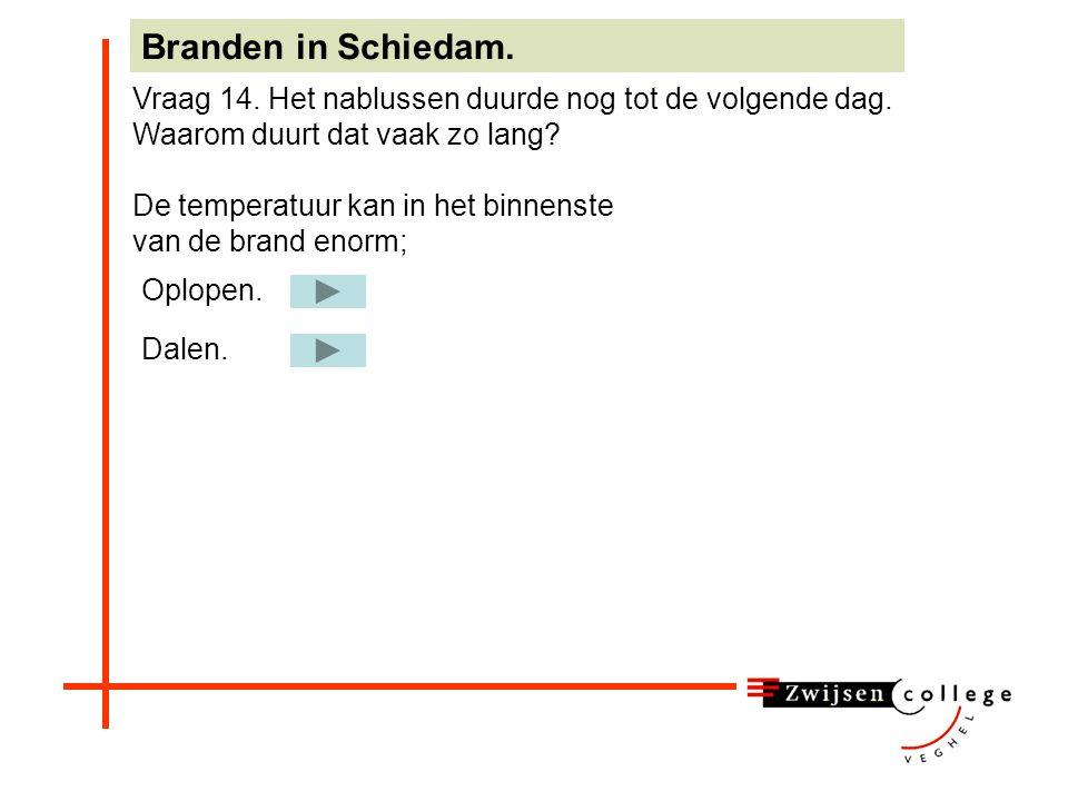 Water zorgt voor afkoeling en verdamping Branden in Schiedam. Vraag 13d. Noem twee argumenten waarom water zo geschikt is als blusmiddel: Water zorgt