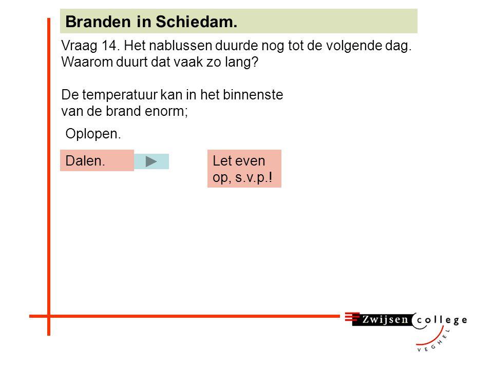 De temperatuur kan in het binnenste van de brand enorm; Branden in Schiedam. Vraag 14. Het nablussen duurde nog tot de volgende dag. Waarom duurt dat