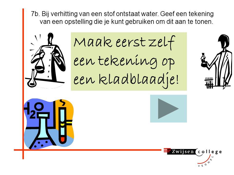 7. Wat is het reagens op water? A. Joodwater Ga verder met vraag 7b. B. Broomwater C. Wit kopersulfaat D. Zuurstof E. Waterstof F. Kalkwater