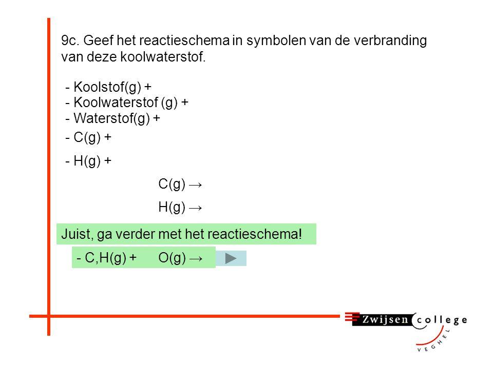 9c. Geef het reactieschema in symbolen van de verbranding van deze koolwaterstof. - Koolstof(g) + - C(g) + - Waterstof(g) + - Koolwaterstof (g) + - C,