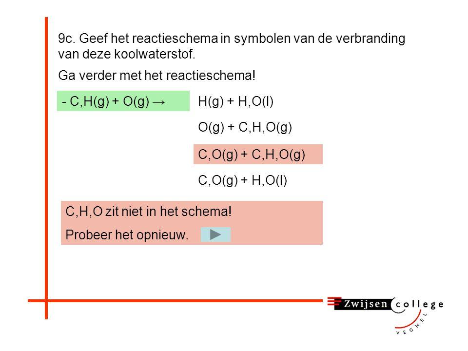 9c. Geef het reactieschema in symbolen van de verbranding van deze koolwaterstof. Ga verder met het reactieschema! - C,H(g) + O(g) →H(g) + H,O(l) O(g)