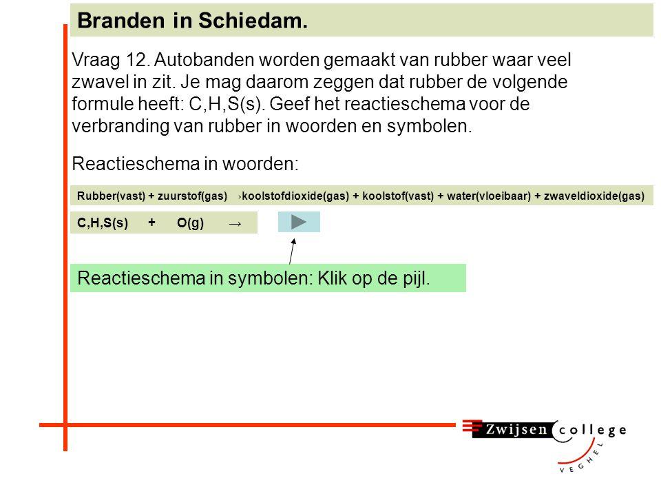 Branden in Schiedam. Vraag 12. Autobanden worden gemaakt van rubber waar veel zwavel in zit. Je mag daarom zeggen dat rubber de volgende formule heeft