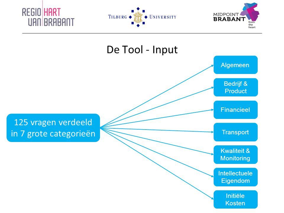 De Tool - Input 125 vragen verdeeld in 7 grote categorieën Algemeen Bedrijf & Product Financieel Transport Kwaliteit & Monitoring Intellectuele Eigendom Initiële Kosten