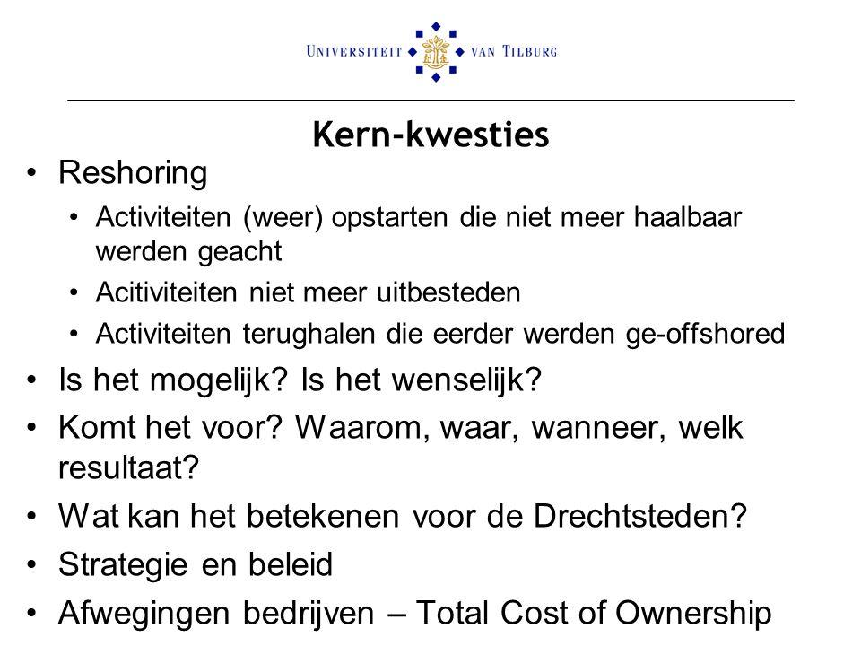 Ondersteunen De tool is GEEN exacte berekening van de kostprijs van produceren in Nederland versus produceren in het buitenland De tool maakt ondernemers bewust van 'verdoken kosten' die verbonden zijn aan produceren in het buitenland en kan dus als basis dienen van een kritische analyse mbt reshoring/offshoring Een aantal kosten zijn niet gekwantificeerd omdat deze 1) heel erg bedrijfsspecifiek zijn en/of 2) bijzonder moeilijk in te schatten zijn