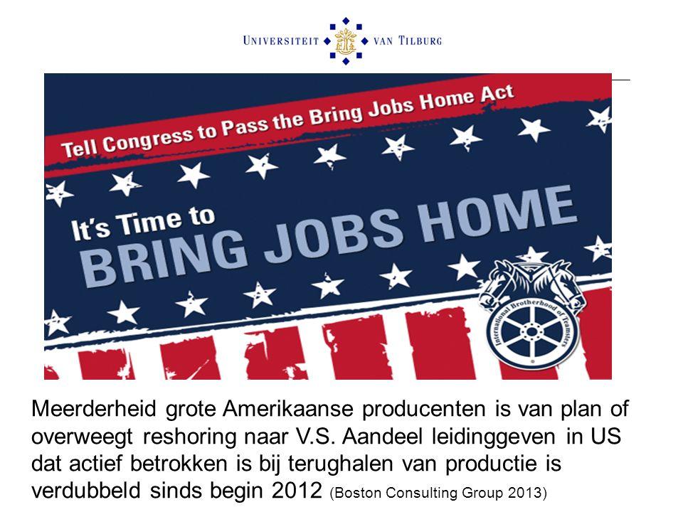 Meerderheid grote Amerikaanse producenten is van plan of overweegt reshoring naar V.S.