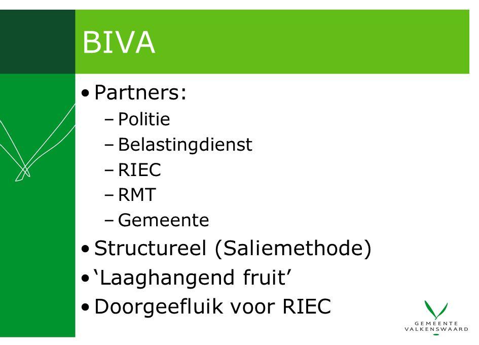BIVA Partners: –Politie –Belastingdienst –RIEC –RMT –Gemeente Structureel (Saliemethode) 'Laaghangend fruit' Doorgeefluik voor RIEC