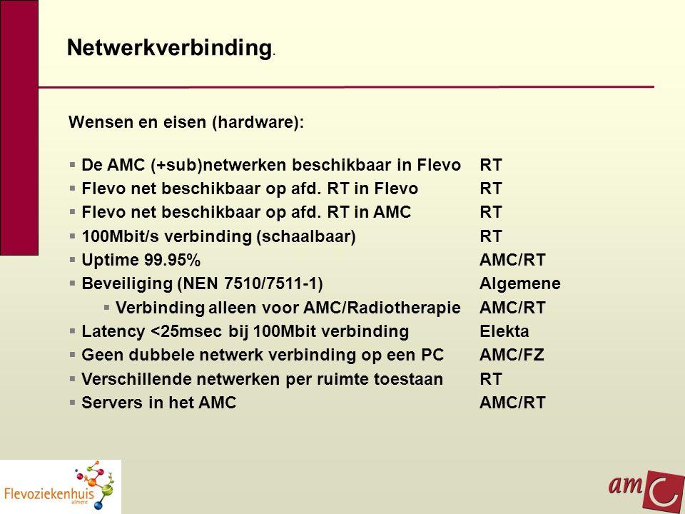 Netwerkverbinding. Wensen en eisen (hardware):  De AMC (+sub)netwerken beschikbaar in Flevo RT  Flevo net beschikbaar op afd. RT in Flevo RT  Flevo
