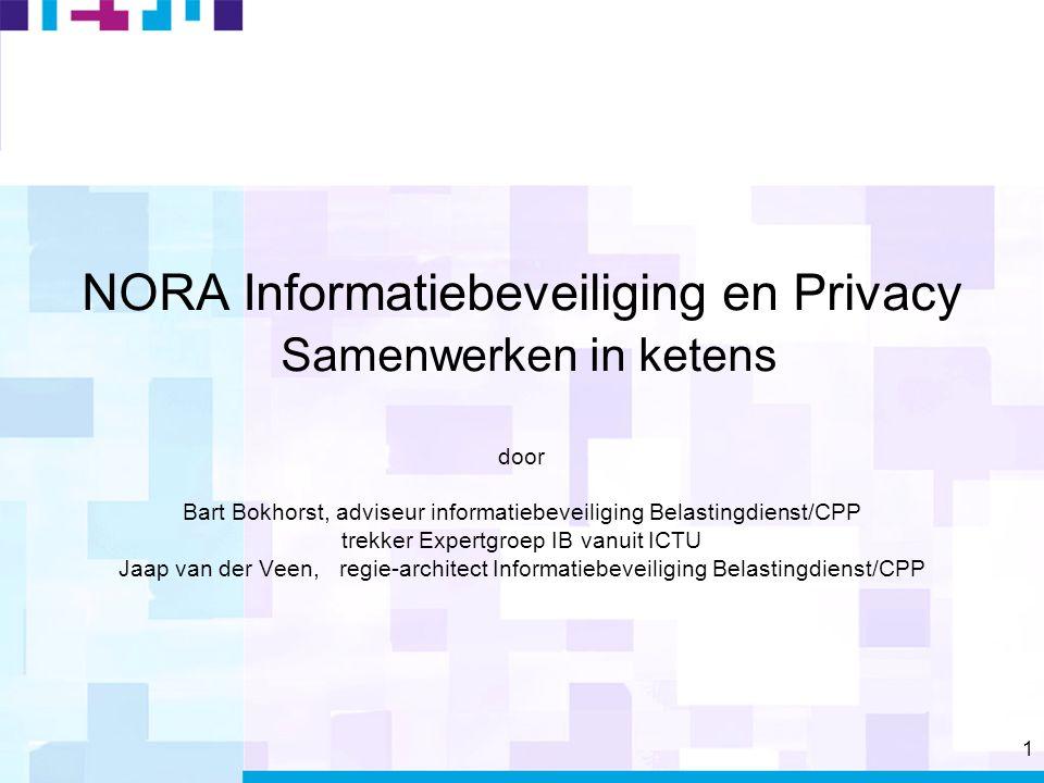 1 NORA Informatiebeveiliging en Privacy Samenwerken in ketens door Bart Bokhorst, adviseur informatiebeveiliging Belastingdienst/CPP trekker Expertgroep IB vanuit ICTU Jaap van der Veen, regie-architect Informatiebeveiliging Belastingdienst/CPP