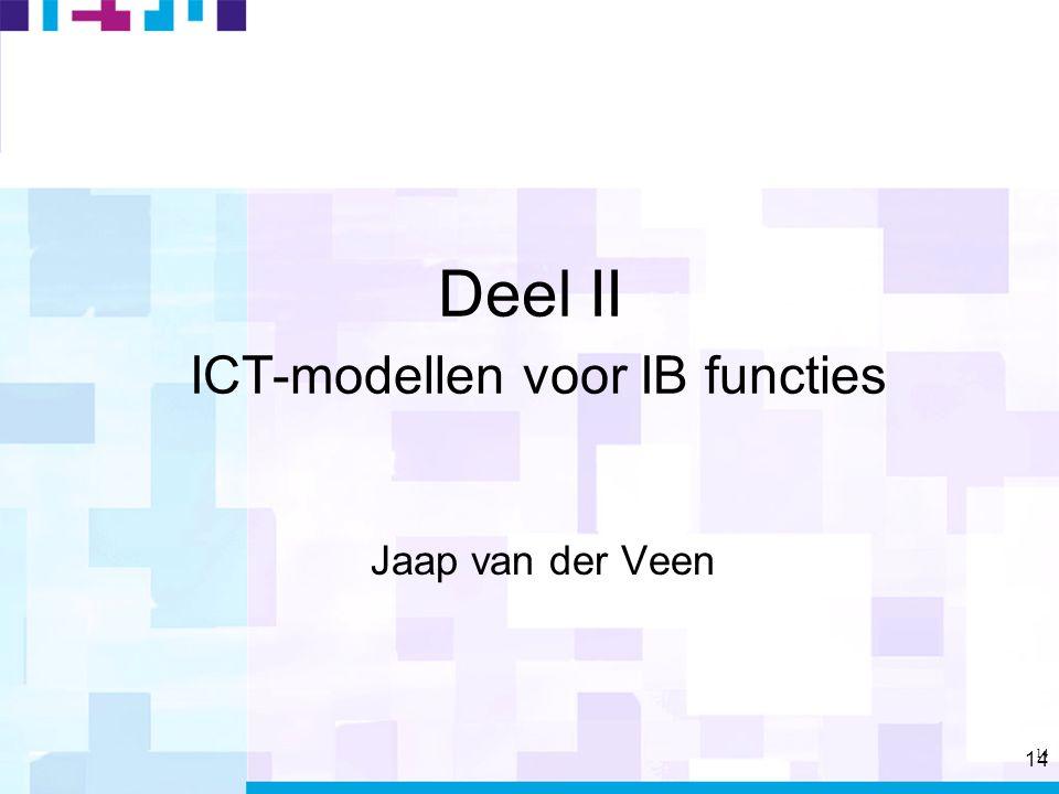 14 Deel II ICT-modellen voor IB functies Jaap van der Veen