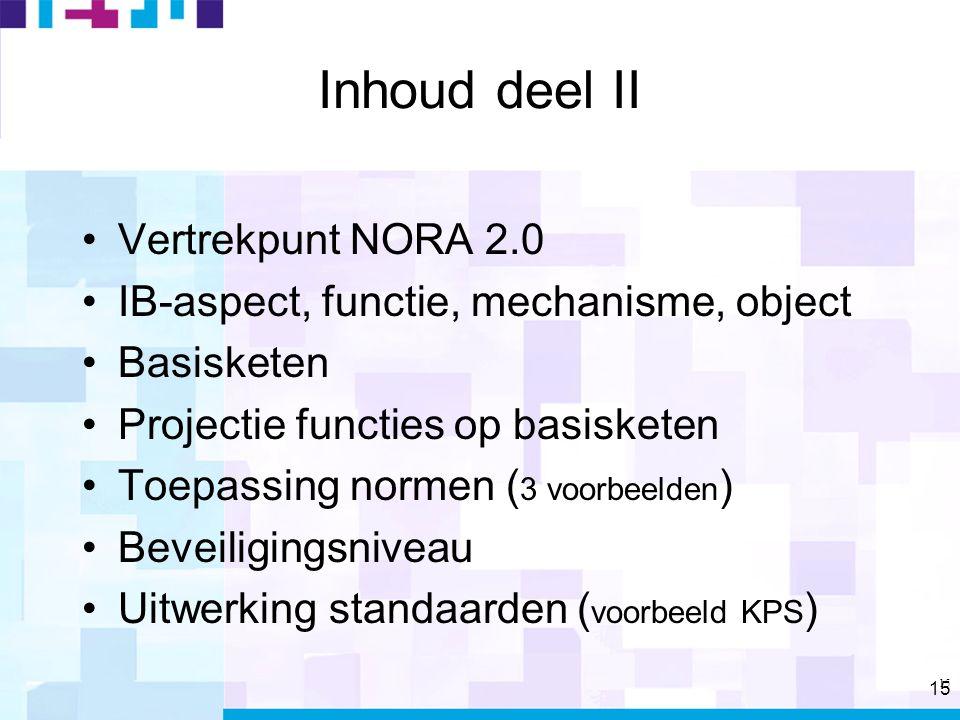 15 Inhoud deel II Vertrekpunt NORA 2.0 IB-aspect, functie, mechanisme, object Basisketen Projectie functies op basisketen Toepassing normen ( 3 voorbeelden ) Beveiligingsniveau Uitwerking standaarden ( voorbeeld KPS )