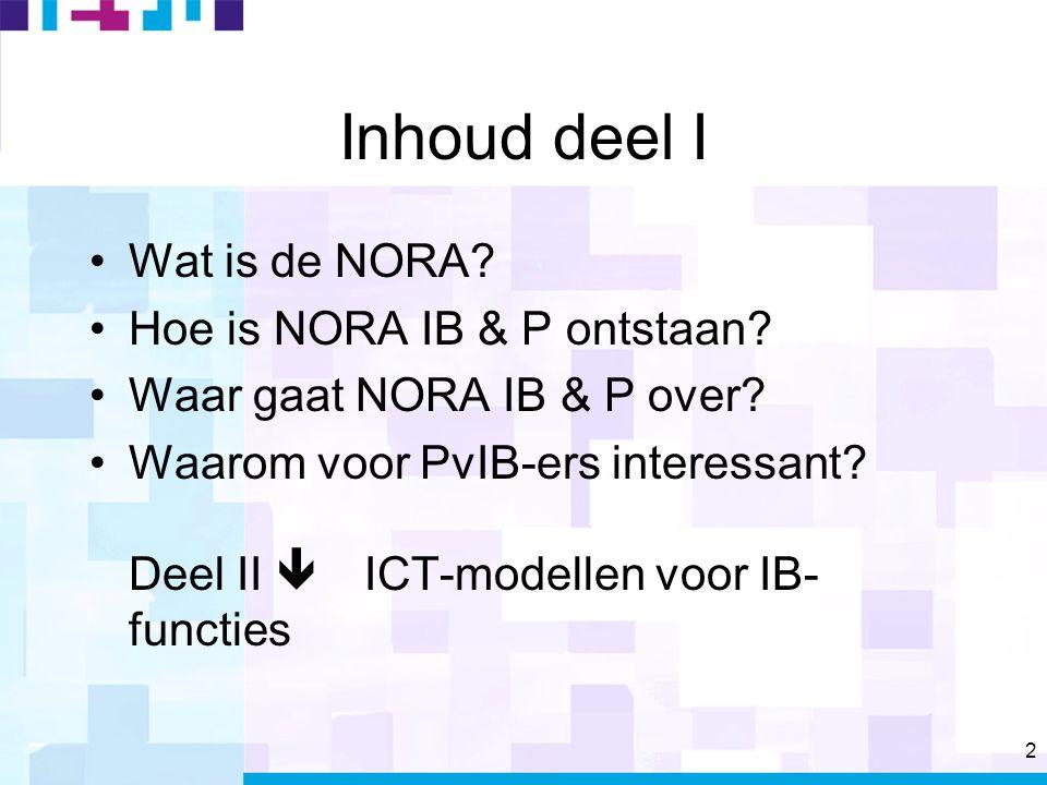 2 Inhoud deel I Wat is de NORA. Hoe is NORA IB & P ontstaan.