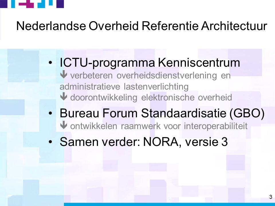 3 Nederlandse Overheid Referentie Architectuur ICTU-programma Kenniscentrum  verbeteren overheidsdienstverlening en administratieve lastenverlichting  doorontwikkeling elektronische overheid Bureau Forum Standaardisatie (GBO)  ontwikkelen raamwerk voor interoperabiliteit Samen verder: NORA, versie 3