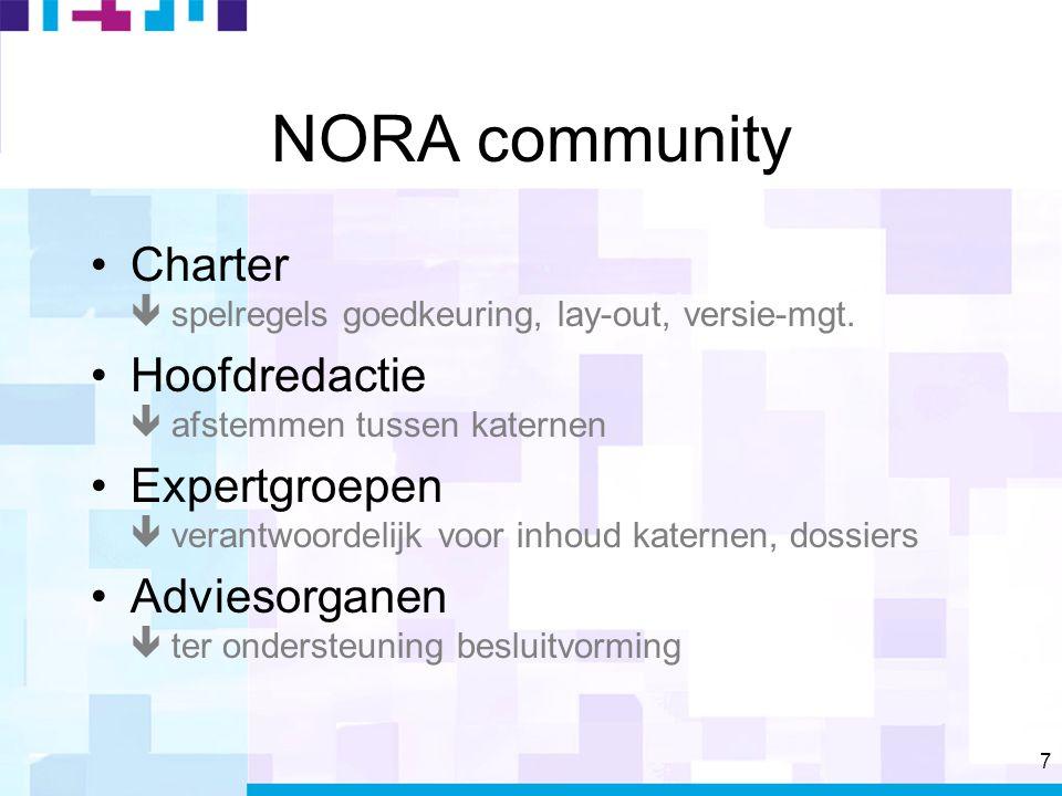 7 NORA community Charter  spelregels goedkeuring, lay-out, versie-mgt.