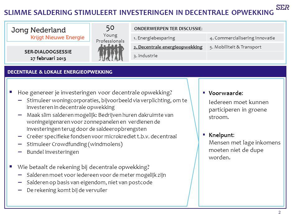 2 SLIMME SALDERING STIMULEERT INVESTERINGEN IN DECENTRALE OPWEKKING  Hoe genereer je investeringen voor decentrale opwekking.