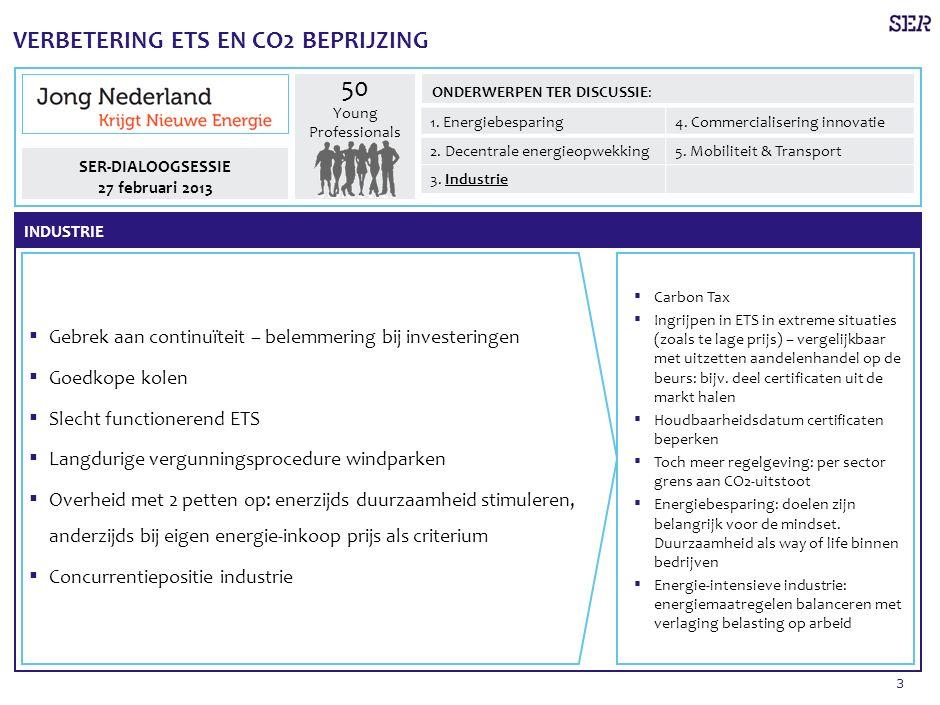 3 VERBETERING ETS EN CO2 BEPRIJZING ▪ Carbon Tax ▪ Ingrijpen in ETS in extreme situaties (zoals te lage prijs) – vergelijkbaar met uitzetten aandelenhandel op de beurs: bijv.