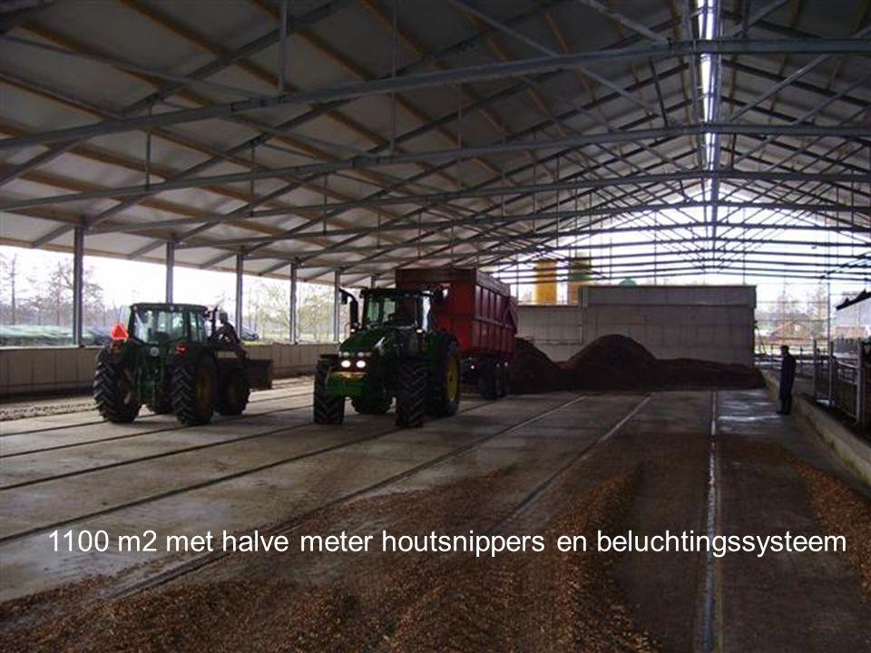 1100 m2 met halve meter houtsnippers en beluchtingssysteem