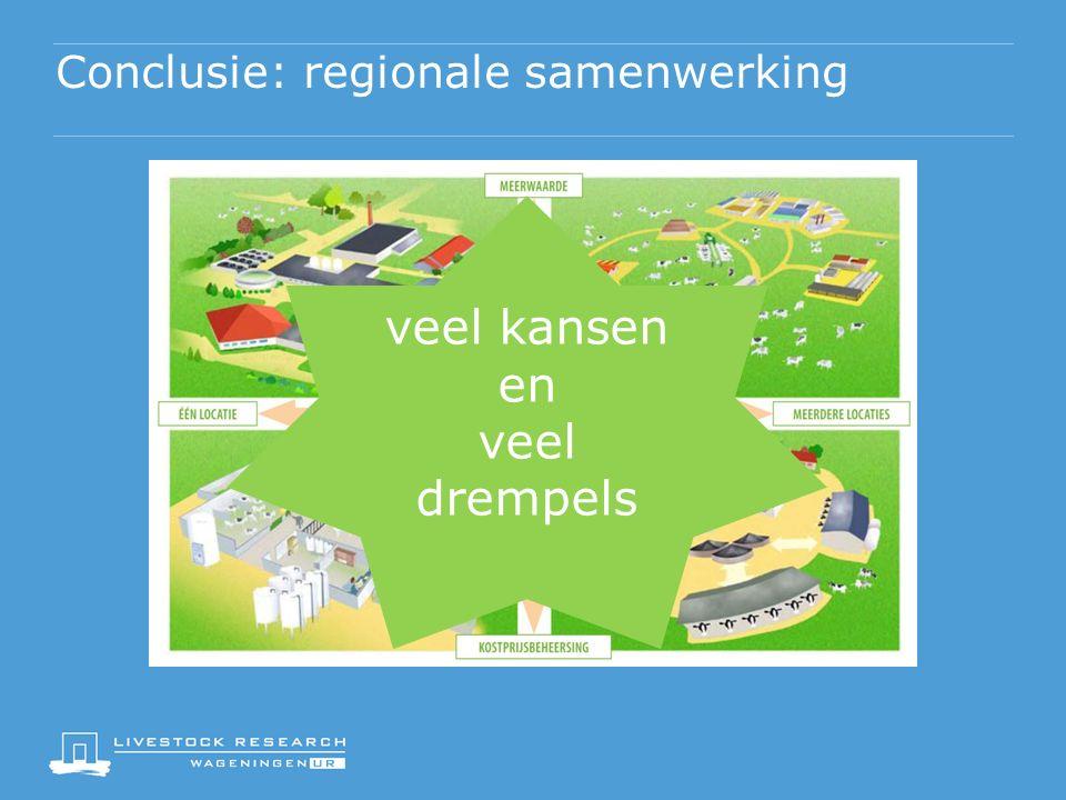 Conclusie: regionale samenwerking veel kansen en veel drempels