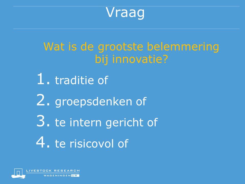 Vraag Wat is de grootste belemmering bij innovatie.