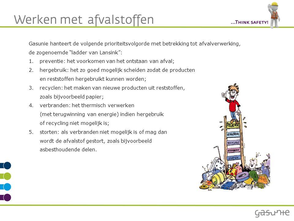 Gasunie hanteert de volgende prioriteitsvolgorde met betrekking tot afvalverwerking, de zogenoemde ladder van Lansink : 1.preventie: het voorkomen van het ontstaan van afval; 2.hergebruik: het zo goed mogelijk scheiden zodat de producten en reststoffen hergebruikt kunnen worden; 3.