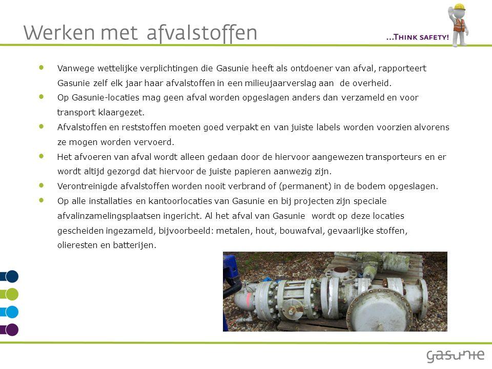 Vanwege wettelijke verplichtingen die Gasunie heeft als ontdoener van afval, rapporteert Gasunie zelf elk jaar haar afvalstoffen in een milieujaarverslag aan de overheid.