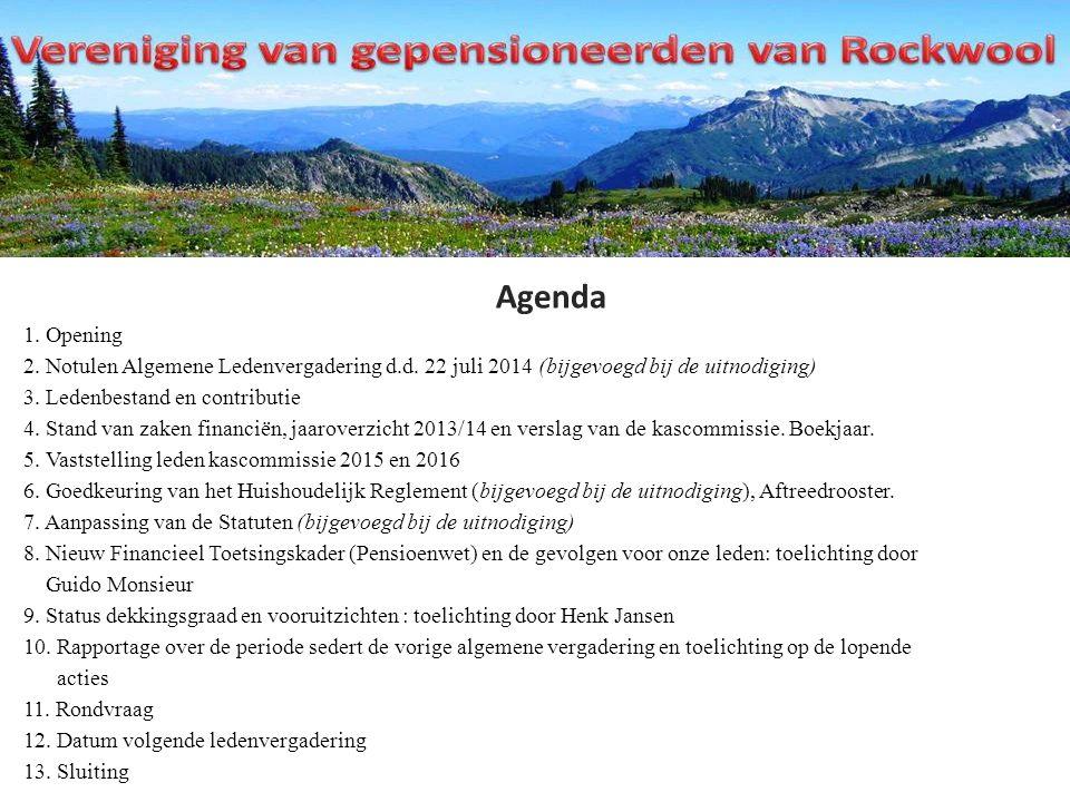 Agenda 1. Opening 2. Notulen Algemene Ledenvergadering d.d.