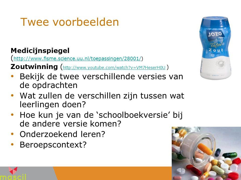 Twee voorbeelden Medicijnspiegel ( http://www.fisme.science.uu.nl/toepassingen/28001/) http://www.fisme.science.uu.nl/toepassingen/28001/ Zoutwinning