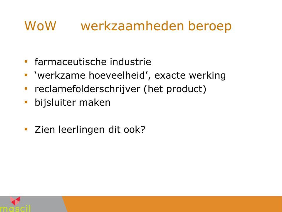 WoWwerkzaamheden beroep farmaceutische industrie 'werkzame hoeveelheid', exacte werking reclamefolderschrijver (het product) bijsluiter maken Zien lee