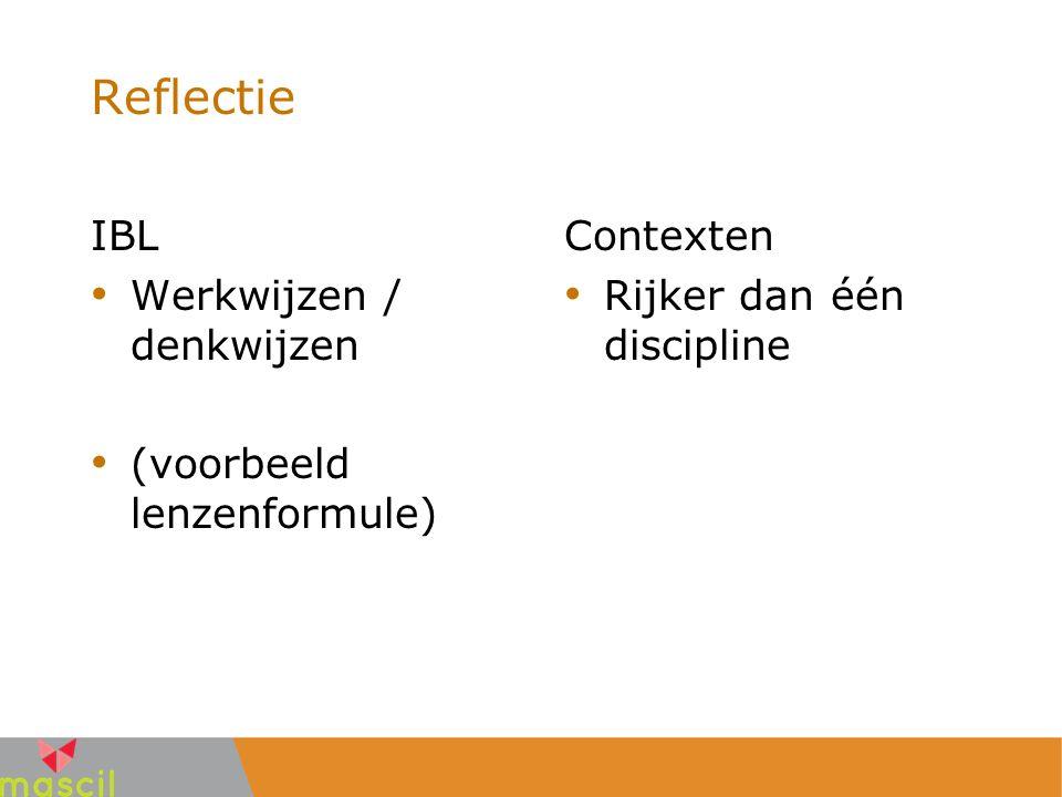 Reflectie IBL Werkwijzen / denkwijzen (voorbeeld lenzenformule) Contexten Rijker dan één discipline