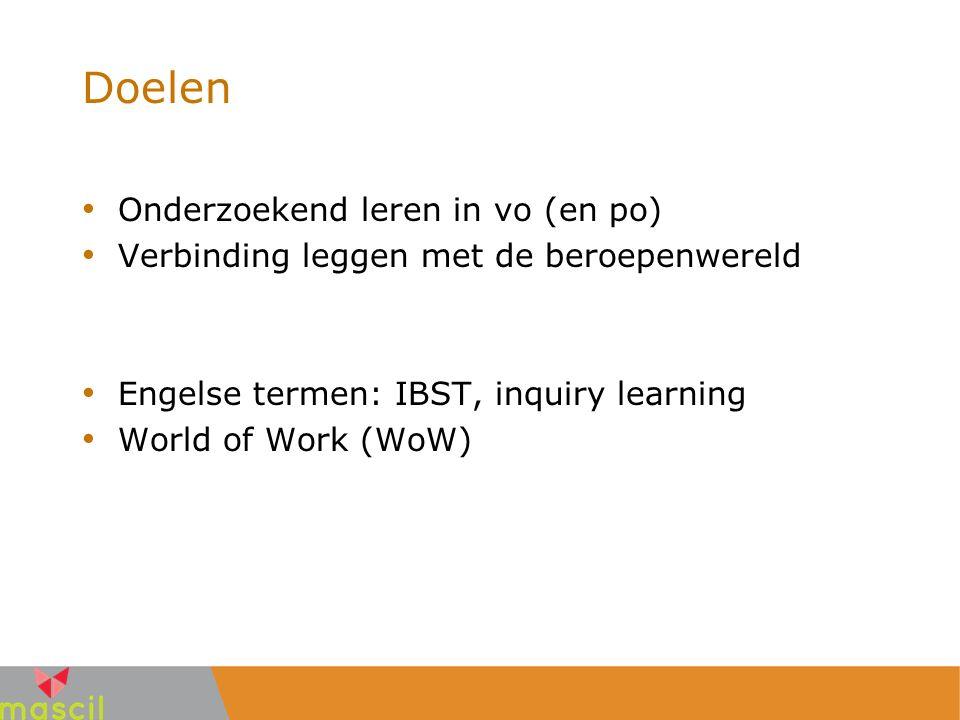 Doelen Onderzoekend leren in vo (en po) Verbinding leggen met de beroepenwereld Engelse termen: IBST, inquiry learning World of Work (WoW)