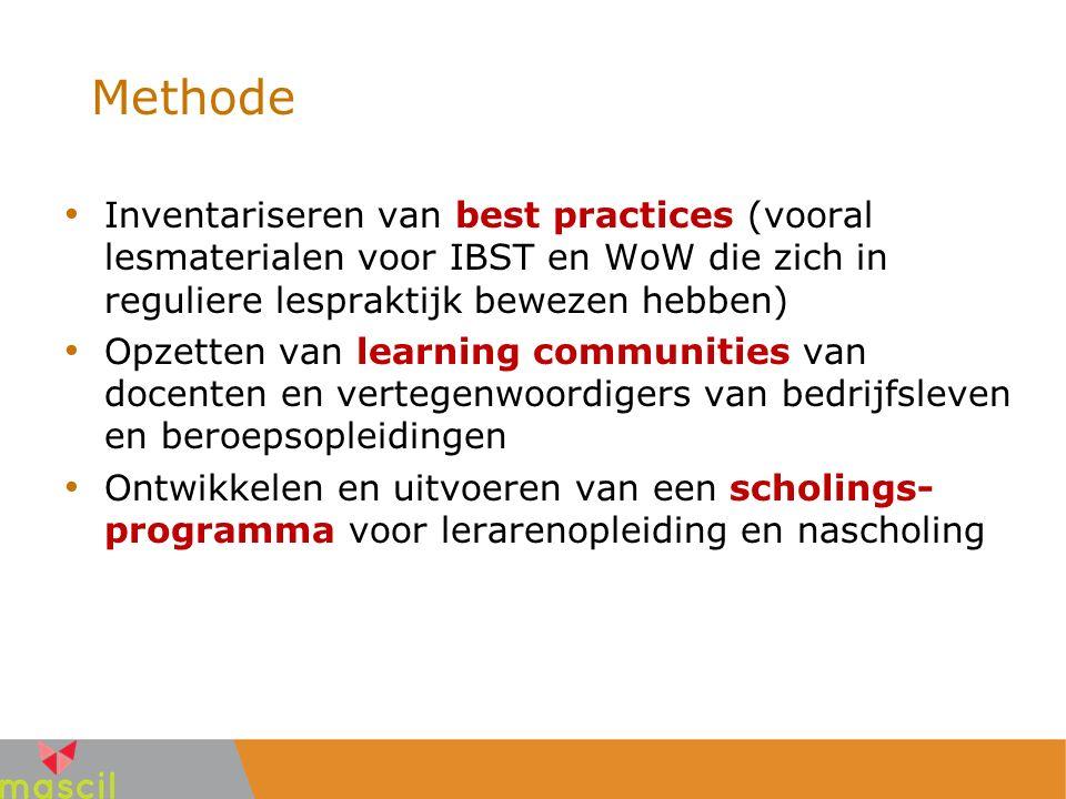 Methode Inventariseren van best practices (vooral lesmaterialen voor IBST en WoW die zich in reguliere lespraktijk bewezen hebben) Opzetten van learni