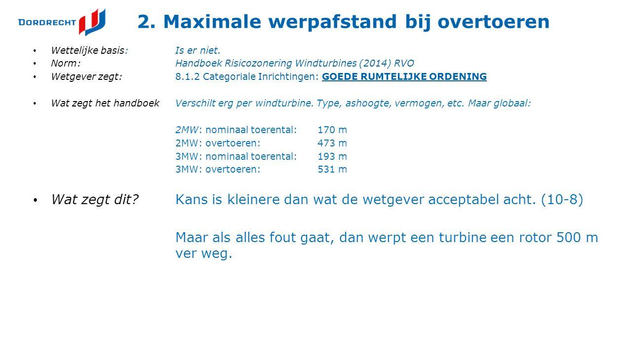 2. Maximale werpafstand bij overtoeren Wettelijke basis:Is er niet. Norm:Handboek Risicozonering Windturbines (2014) RVO Wetgever zegt:8.1.2 Categoria