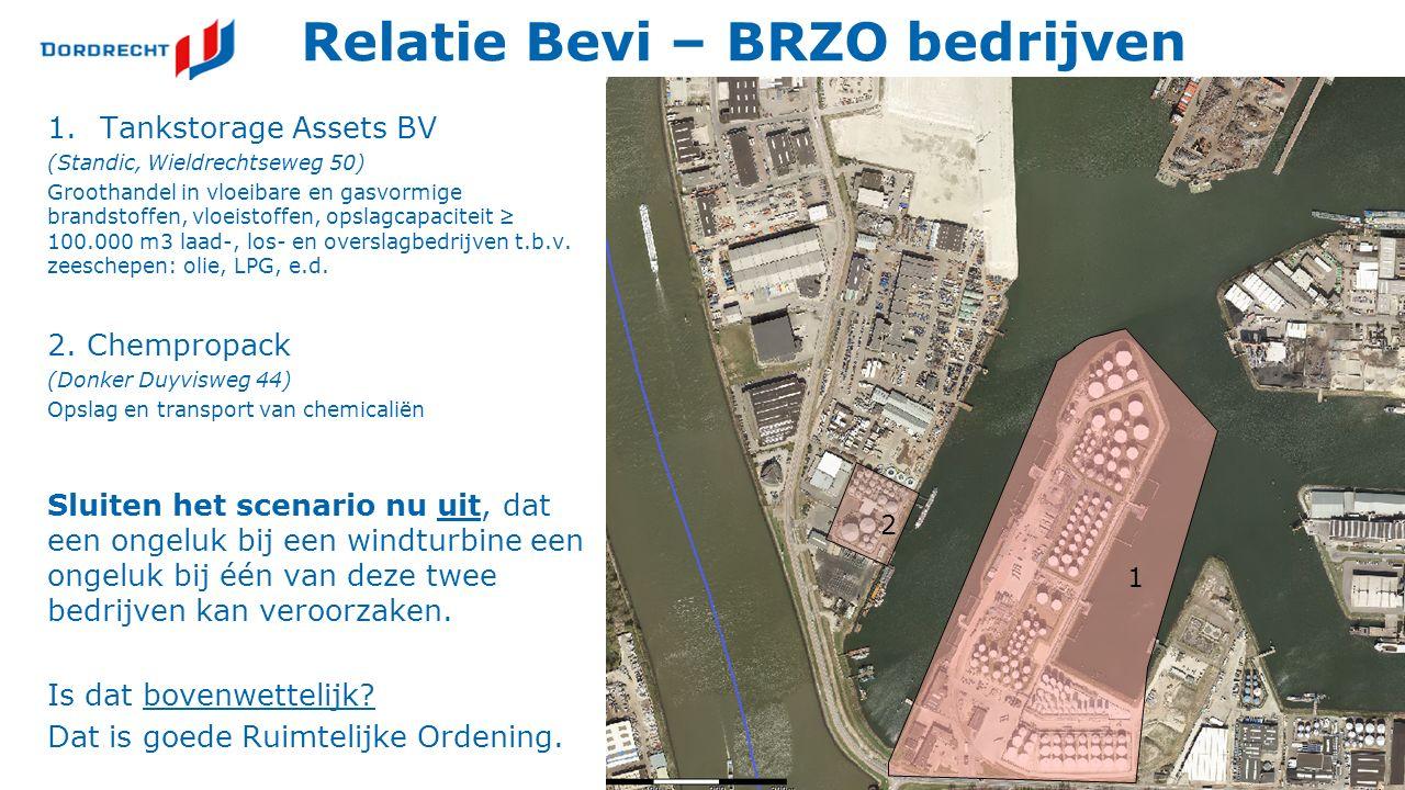 Relatie Bevi – BRZO bedrijven 1.Tankstorage Assets BV (Standic, Wieldrechtseweg 50) Groothandel in vloeibare en gasvormige brandstoffen, vloeistoffen, opslagcapaciteit ≥ 100.000 m3 laad-, los- en overslagbedrijven t.b.v.