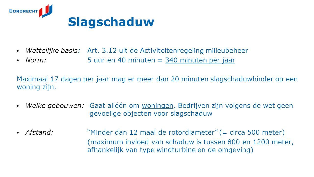 Slagschaduw Wettelijke basis:Art. 3.12 uit de Activiteitenregeling milieubeheer Norm:5 uur en 40 minuten = 340 minuten per jaar Maximaal 17 dagen per