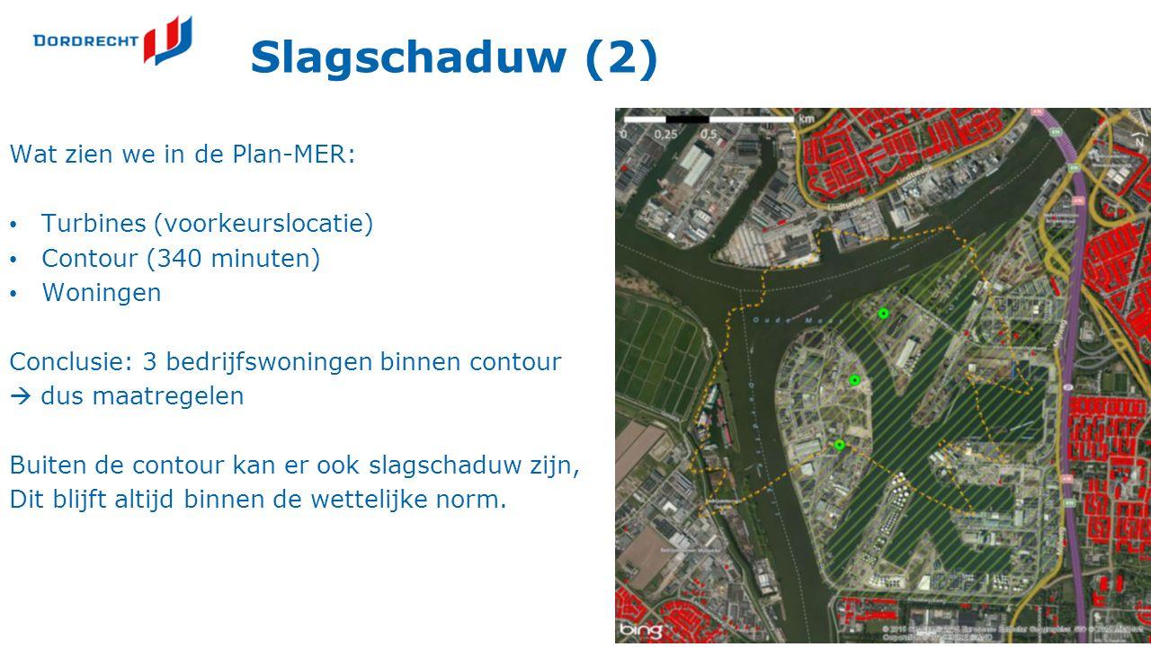 Slagschaduw (2) Wat zien we in de Plan-MER: Turbines (voorkeurslocatie) Contour (340 minuten) Woningen Conclusie: 3 bedrijfswoningen binnen contour 