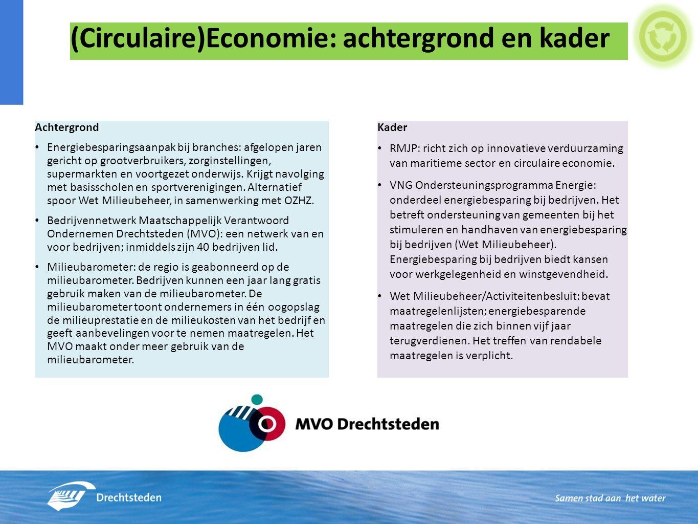(Circulaire)Economie: achtergrond en kader Achtergrond Energiebesparingsaanpak bij branches: afgelopen jaren gericht op grootverbruikers, zorginstellingen, supermarkten en voortgezet onderwijs.