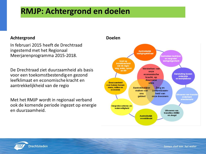 RMJP: Achtergrond en doelen Achtergrond In februari 2015 heeft de Drechtraad ingestemd met het Regionaal Meerjarenprogramma 2015-2018.