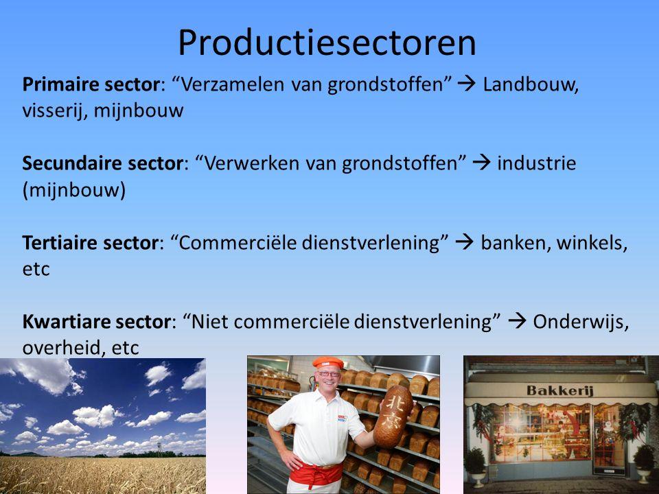 Productiesectoren Primaire sector: Verzamelen van grondstoffen  Landbouw, visserij, mijnbouw Secundaire sector: Verwerken van grondstoffen  industrie (mijnbouw) Tertiaire sector: Commerciële dienstverlening  banken, winkels, etc Kwartiare sector: Niet commerciële dienstverlening  Onderwijs, overheid, etc